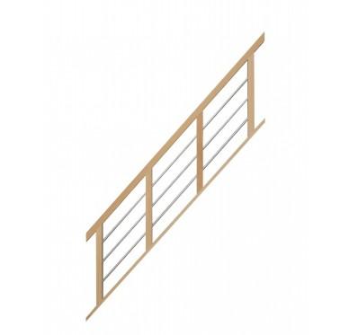 Rampe pour escalier quart tournant bas hauteur 280 cm reculement 255 cm avec marche débordante aluminium horizontal naturel