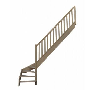 Escalier quart tournant bas droit en hêtre sans contre marches sans rampe hauteur 272 cm