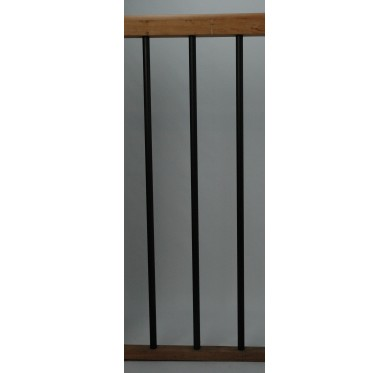 Rampe pour escalier quart tournant bas hauteur 272 cm reculement 280 cm avec marche débordante aluminium vertical chocolat