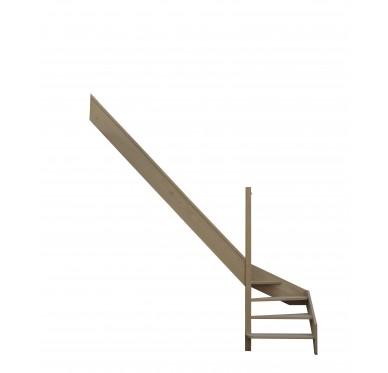 Escalier quart tournant bas gauche en hêtre sans contre marches sans rampe hauteur 272 cm