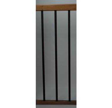 Rampe pour escalier quart tournant bas hauteur 272 cm reculement 255 cm avec marche débordante aluminium vertical chocolat