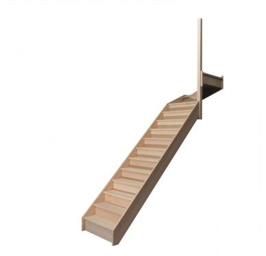 Escalier quart tournant haut droit en hêtre avec contre marches sans rampe hauteur 280 cm