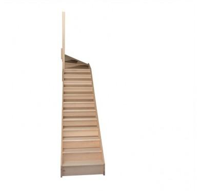 Escalier quart tournant haut gauche en hêtre avec contre marches sans rampe hauteur 280 cm
