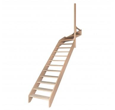 Escalier quart tournant haut droit en hêtre sans contre marches sans rampe hauteur 280 cm
