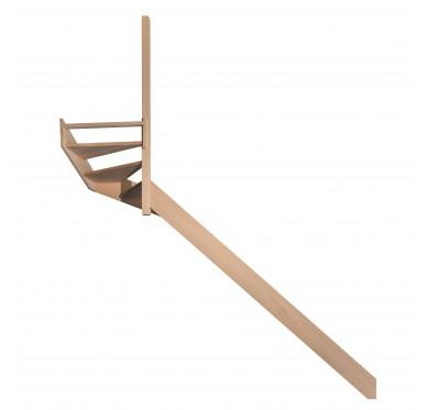 Escalier quart tournant haut gauche en hêtre sans contre marches sans rampe hauteur 280 cm
