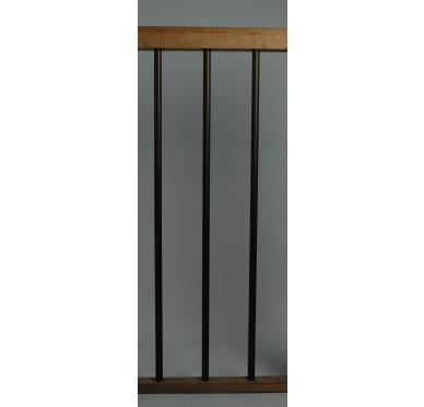 Rampe pour escalier quart tournant haut hauteur 280 cm reculement 291 cm avec marche débordante aluminium vertical bronze