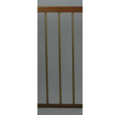 Rampe pour escalier quart tournant haut hauteur 280 cm reculement 291 cm avec marche débordante aluminium vertical champagne