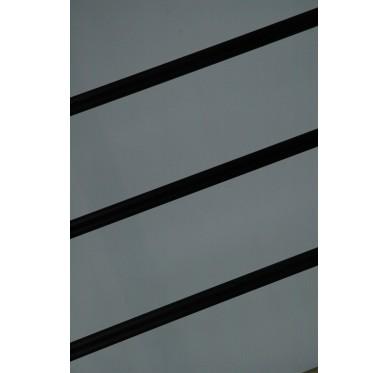 Rampe pour escalier quart tournant haut hauteur 280 cm reculement 291 cm avec marche débordante aluminium horizontal noir