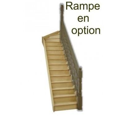 Escalier quart tournant haut droit en hêtre avec contre marches sans rampe hauteur 272 cm