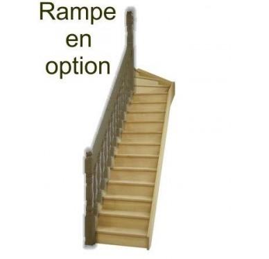 Escalier quart tournant haut gauche en hêtre avec contre marches sans rampe hauteur 272 cm