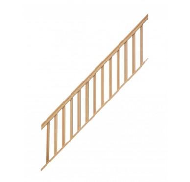 Rampe pour escalier quart tournant haut hauteur 272 cm reculement 291 cm avec marche débordante balustres rectangles