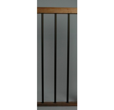 Rampe pour escalier quart tournant haut hauteur 272 cm reculement 291 cm avec marche débordante aluminium vertical bronze