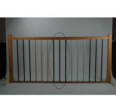 Rampe pour escalier quart tournant haut hauteur 272 cm reculement 291 cm avec marche débordante aluminium vertical chocolat