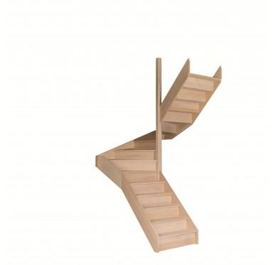 Escalier demi tournant en hêtre avec contre marches sans rampe hauteur 300 cm