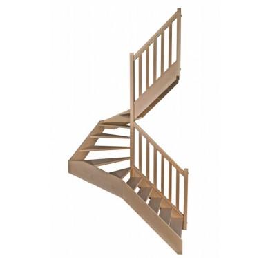 Escalier demi tournant en hêtre sans contre marches sans rampe hauteur 300 cm
