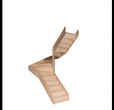 Escalier demi tournant en hêtre avec contre marches sans rampe Hauteur 280 cm Droit