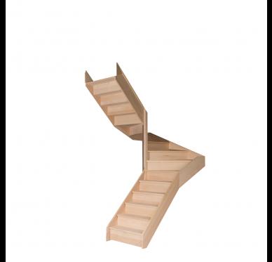 Escalier demi tournant en hêtre avec contre marches sans rampe hauteur 280 cm Gauche