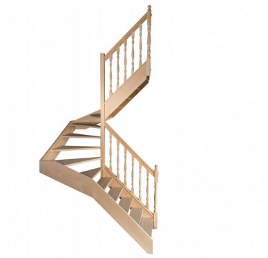 Escalier demi tournant en hêtre sans contre marches sans rampe hauteur 280 cm