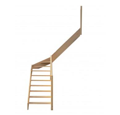 Escalier quart tournant milieu en hêtre sans contre marches sans rampe hauteur 300 cm