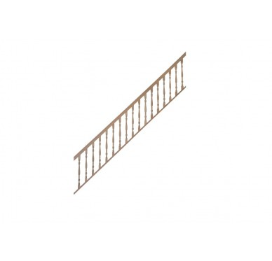 Rampe pour escalier quart tournant milieu hauteur 300 cm balustres tournés