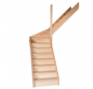 Escalier quart tournant milieu en hêtre avec contre marches sans rampe hauteur 280 cm