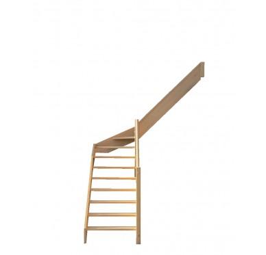Escalier quart tournant milieu en hêtre sans contre marches sans rampe hauteur 280 cm droit
