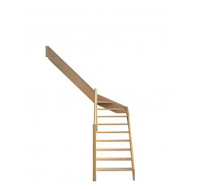 Escalier quart tournant milieu en hêtre sans contre marches sans rampe hauteur 280 cm gauche