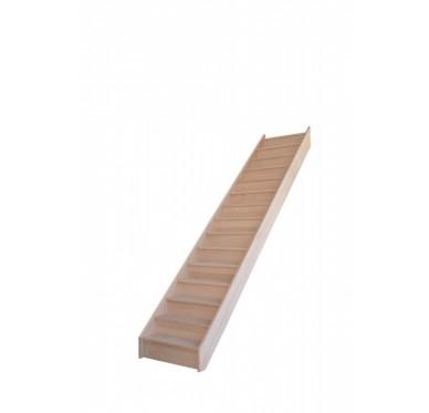 Escalier droit en hêtre avec contre marches sans rampe hauteur 300 cm