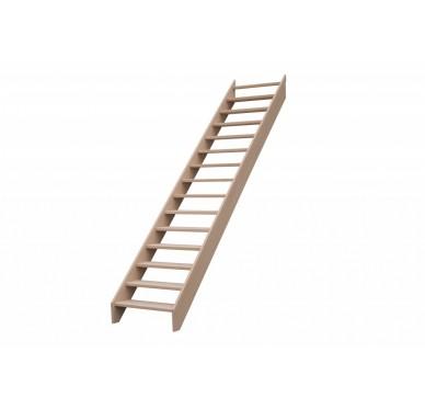 Escalier droit en hêtre sans contre marche sans rampe hauteur 300 cm
