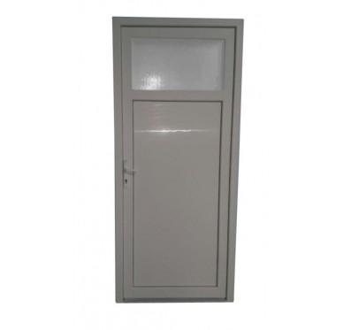 Porte de service Occulus en PVC blanc 215 x 090 cm poussant droit