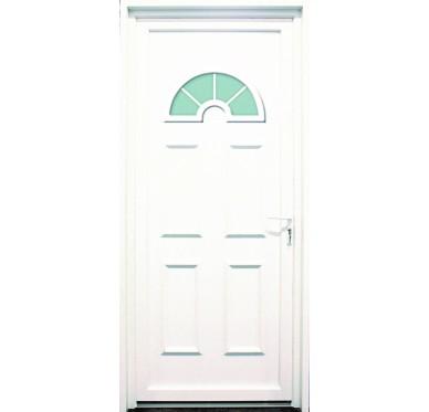 Porte d'entrée en PVC blanc 215 X 080 cm Demi Lune Tarn poussant droit