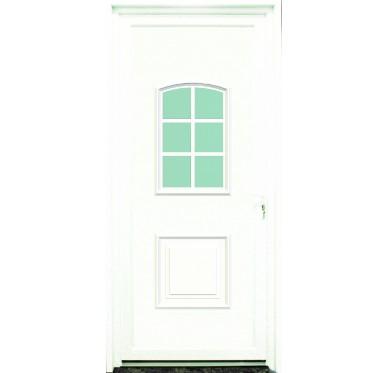 Porte d'entrée en PVC blanc 215 X 090 cm 6 Carreaux Gard poussant droit
