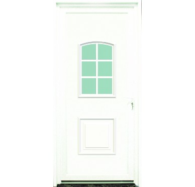 Porte d'entrée en PVC blanc 215 X 090 cm 6 Carreaux Gard poussant gauche