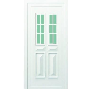 Porte d'entrée en PVC blanc 215 X 090 cm 2 Carreaux Jura poussant droit