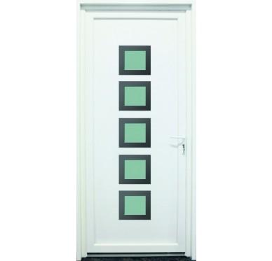 Porte d'entrée en PVC blanc 215 X 080 cm 5 Carreaux Loire poussant droit
