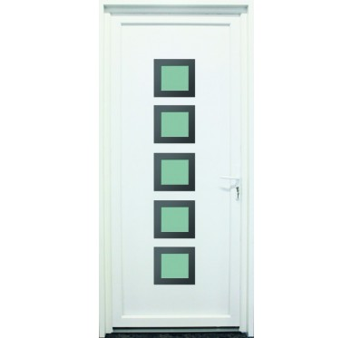 Porte d'entrée en PVC blanc 200 X 080 cm 5 Carreaux Loire poussant droit