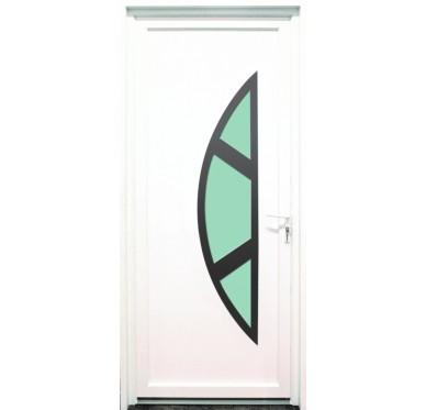 Porte d'entrée en PVC blanc 215 X 090 cm Demi Lune Marne poussant droit