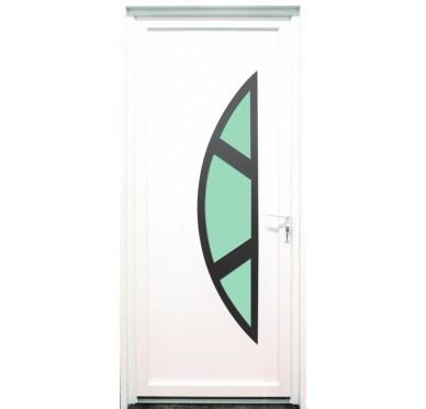 Porte d'entrée en PVC blanc 215 X 090 cm Demi Lune Marne poussant gauche