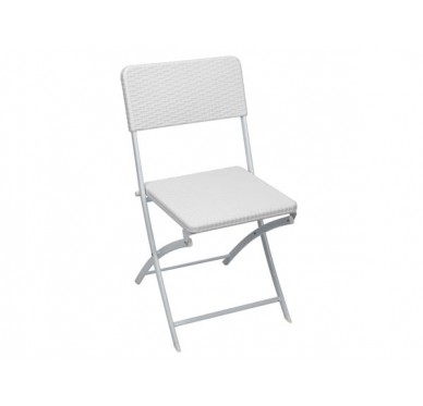 Chaise pliante blanche imitation rotin