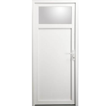 Porte de service Occulus en PVC blanc 215 x 090 cm poussant gauche
