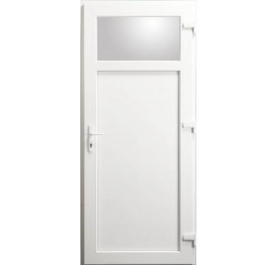 Porte de service Occulus en PVC blanc 205 x 080 cm poussant droit
