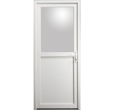 Porte de service en PVC blanc 215 x 090 cm avec 1/2 Vitre clair poussant gauche
