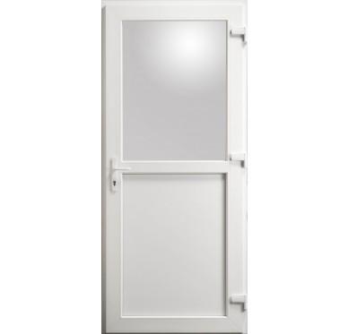 Porte de service en PVC blanc 205 x 090 cm avec 1/2 Vitre clair poussant gauche