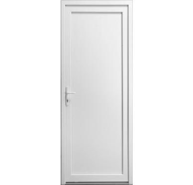 Porte de service en PVC blanc 205 x 080 cm porte pleine poussant droit