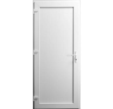 Porte de service en PVC blanc 205 x 090 cm porte pleine poussant gauche