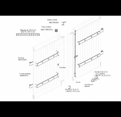 Kit volet en PVC recoupable 218 x 120 cm