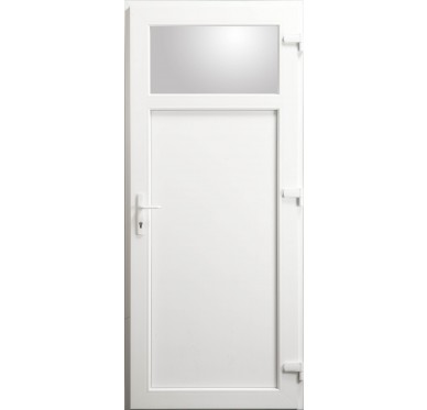 Porte de service Occulus en PVC blanc 215 x 080 cm poussant gauche