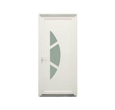 Porte d'entrée en PVC blanc 215 x 90 cm Anaïs poussant droit