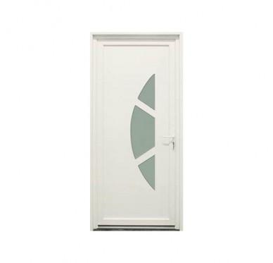 Porte d'entrée en PVC blanc 215 x 90 cm Anaïs poussant gauche