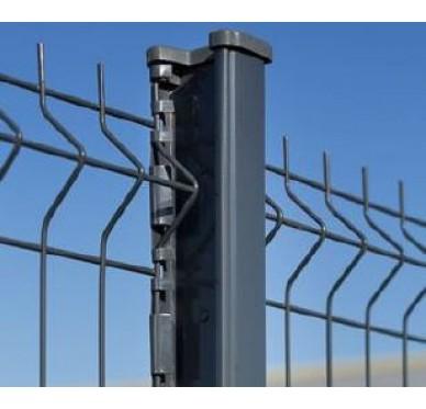 Poteau de clôture à encoches, Hauteur 2,60m, gris